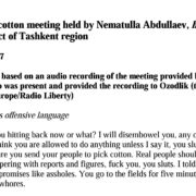 Transcript of cotton meeting held by Nematulla Abdullaev, hokim of the Parkent district of Tashkent region, November 1, 2017